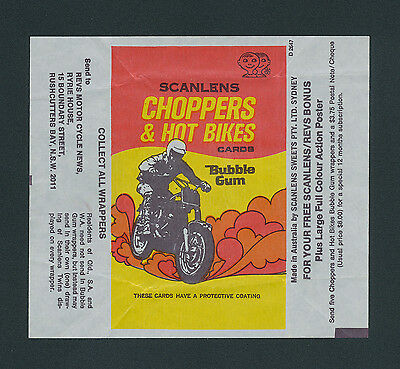 Choppers and Hot Bikes Scanlens Card Wrapper 1974
