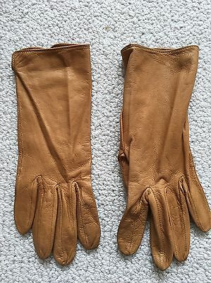 Leather Gloves, Ladies, Size 6.5, Camel Colour