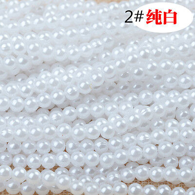 Wholesale 100pcs ABS Round Spacer Loose Beads 4mm For Jewelry Making White