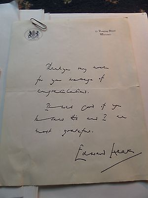edward heath prime minister hand written letter with envelope/downing street