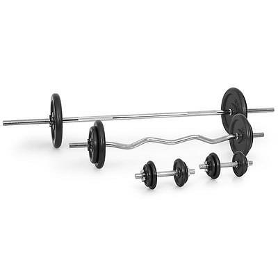 Dumbbell Set Barbell Curl Bar 18x Free Weights 82.5kg By Klarfit Steel Plates