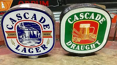 Cascade  Lager & Draught. Beer Tap Tops x 2