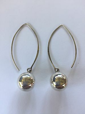 Unusual Modern Marquis Sterling Silver Stamped 925 Hook And Ball Earrings
