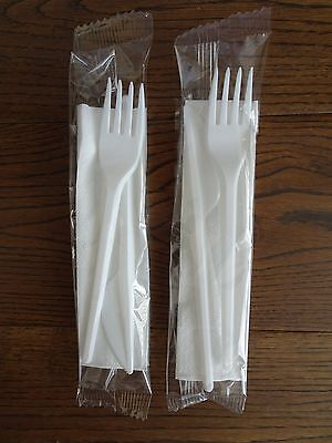 Disposable Plastic Strong Knife Fork & Napkin Cutlery Set Individually Wrapped