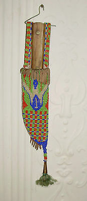 Vintage -- Native American Plains Indian - BEADED SHEATH and KNIFE - NO RESERVE