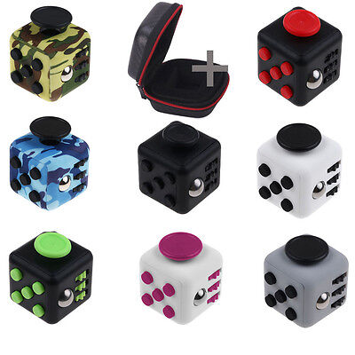 Fidget Cube Toy Stress Relief Focus Adults Kid ADHD With Portable Carry Case Bag