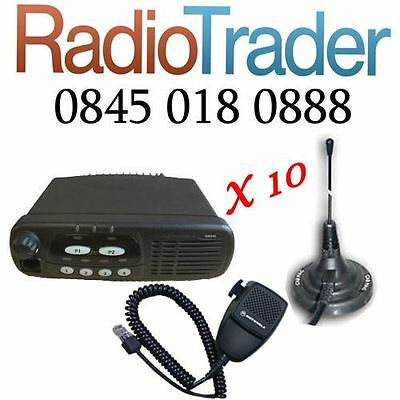 10 X Motorola Gm340 Vhf Taxi Mobile Two Way Radio Complete With Magmount Antenna