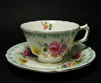 Vintage ROYAL CROWN DERBY Scalloped Edge FLORAL Cup and Saucer DUO c1930s