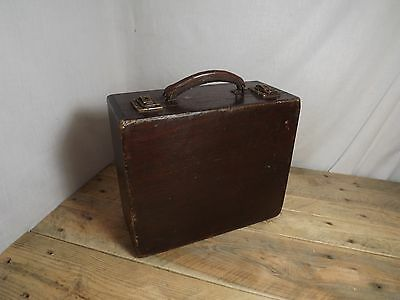 Vintage Wooden Suitcase Storage Case with Leather Handle Locks with Key!