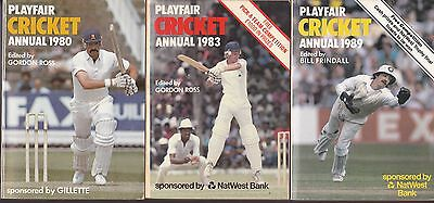 3  Playfair cricket annuals 1989 1980 1983  edited by Bill Frindall