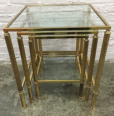 Vintage Maison Jansen Style Solid Brass & Glass Nesting Tables Fluted Legs