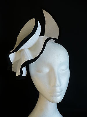 Black White Fascinator Ruffles Hat Races Wedding Melbourne Cup Derby Day