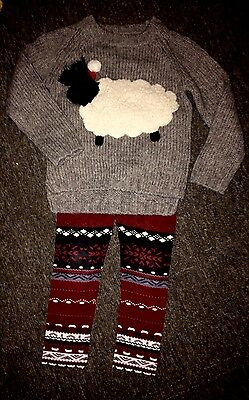 next girls Christmas jumper sheep wool sweater & leggings bundle outfit  age 6