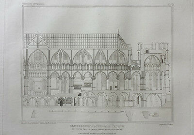 CANTERBURY CATHEDRAL, SECTION OF CRYPTS - 19th CENTURY ANTIQUE ENGRAVING c1822