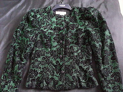 Vintage black velvet long sleeves jacket with green sparkly flowers size 8