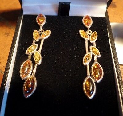 Superb Large & Long Dangley Sterling Silver & Baltic Amber Ear Rings