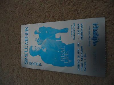 Simple minds Real Life 1991 Concert Ticket