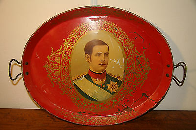 Vintage Lithograhed Serving Tray. 1900. King Alexander of Greece.