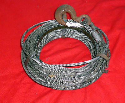 Wire Rope 8mm & Hook  for Tirfor type Hand winch. Long Length, on Carrier