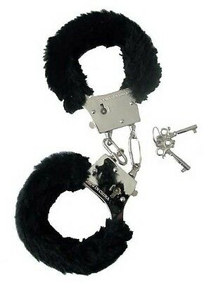 Black Fur Hen Party Love Cuffs - Metal Furry Handcuffs To Arrest The Bride To Be