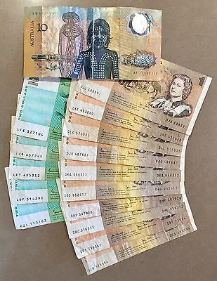 Mixed Bundle Lot Of $1 & $2 Collectible Australian Paper Notes + 1988 $10 Note