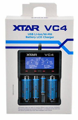 XTAR VC4 2016 model 4-Slot Smart LCD USB Li-ion NiMH  Battery Charger