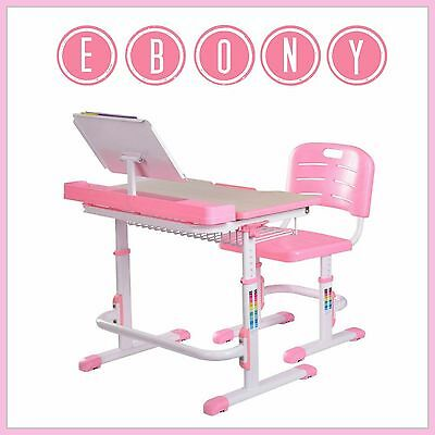 Kids Multifunction Desk Chair Pink Adjustable Height Workstation Table Ebony NEW