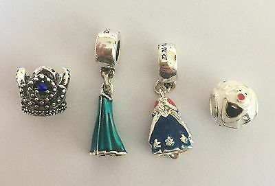 Disney's Frozen Charm Set Anna & Elsa Dress Olaf Princess Crown Silver Plated