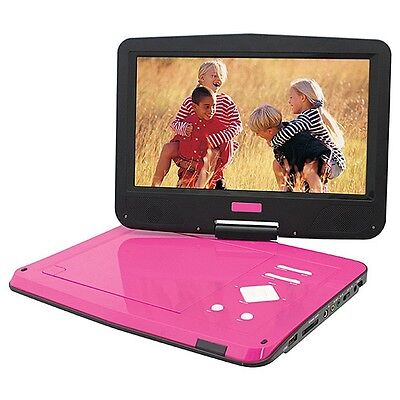"PINK PORTABLE DVD PLAYER 10"" 25CM USB/SD READER SWIVEL SCREEN SomeScratchsOnLid"