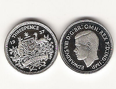 EDWARD VIII 8th SILVER THREEPENCE PROOF MODERN PATTERN   .