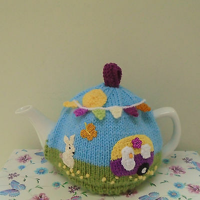 Hand Knitted Summer Days Tea Cosy Caravan Bunny And Bunting For A Medium Teapot