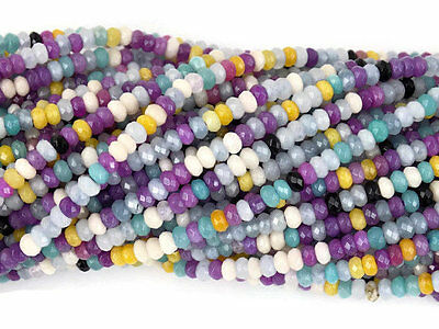 """5 Strands Mix Chalcedony Faceted Rondelle Gemstone Beads 4mm Bead 13.5"""" Long"""