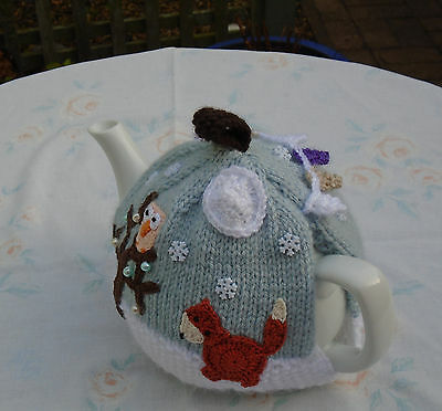 Hand Knitted Winter Fox And Owl Tea Cosy With Bunting For A Medium Teapot
