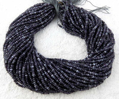 5 Strands Black Rutile Chalcedony Faceted Rondelle Beads 3mm Beads Gemstone