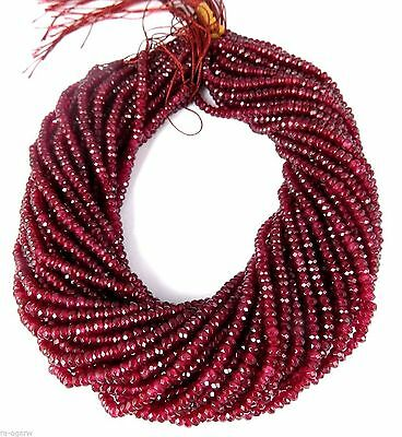 """5 Strands Ruby Chalcedony Micro Faceted Rondelle Beads 4mm Bead Gemstone 13.5""""L"""