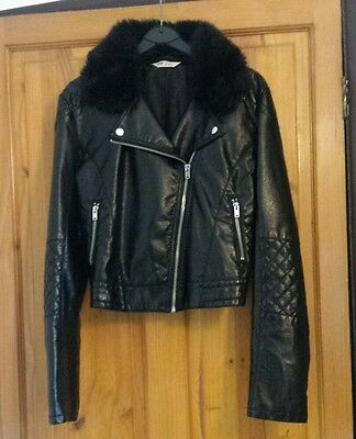 Girls H&m Faux Leather Biker Jacket Coat With Fur Age 14 Years