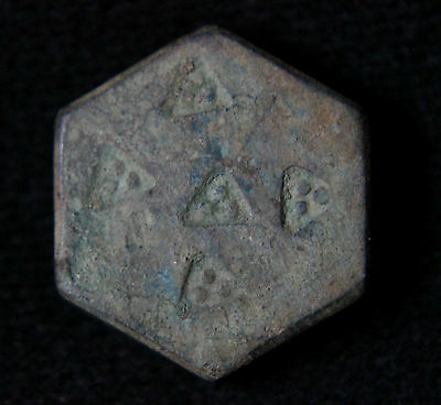 Ancient Viking Bronze Hexagon Trader Weight with decoration 900-1100 AD