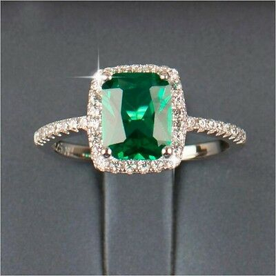 Deluxe Cushion Cut 3ct Emerald Cz 925 Silver Women Wedding Ring Engagement Band