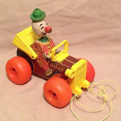 Vintage Old Fisher Price Pull Toy Baby Toddler Wooden car-clown  Jalopy 724-1965