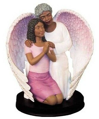 Prayer Guardian Angel with Woman Figurine African American NEW SKU 17290