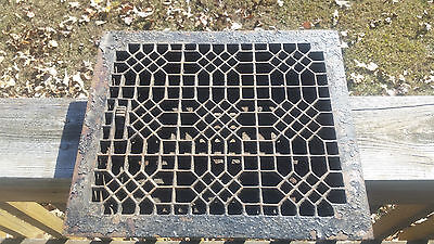 Antique Cast Iron Floor Louvre,Vent,Register,Grate,Ornate,Heat,Large,Victorian