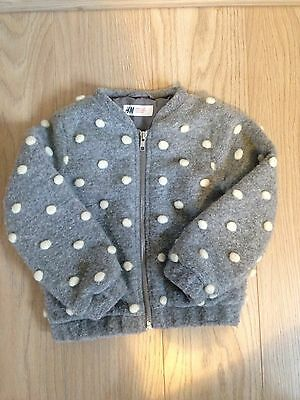 Girls Bomber Jacket Bobbles H&M Grey Wool Size 3-4 Years
