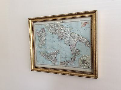 Antique Framed Map Of southern Italy, Circa 1880