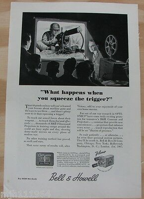 """1940's Bell & Howell WWII advertisement """"Army training"""""""