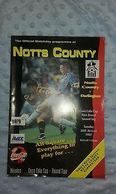 Notts County V Darlington 27Th August 1997 Coca Cola Cup Round One 2Nd Leg