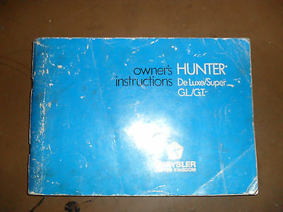 Hillman Hunter owners instructions