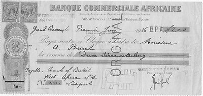 Cheque Grand Bassam Cote D'ivoire 1926 Banque Cale Africaine- Colonies-Factures