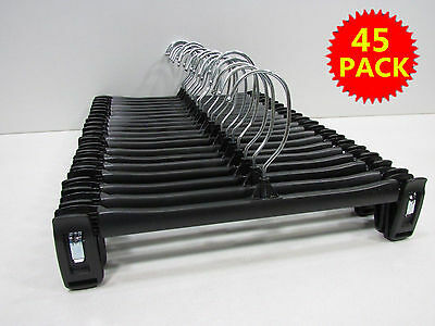 "Lot of 45 Black Plastic Adult Clothes Hangers 12"" For Pants Skirt Pinch Grip EK"