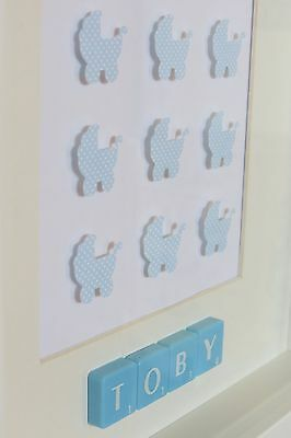 Personalised picture frame PRAMS /baby boy /new baby /christening /nursery /gift
