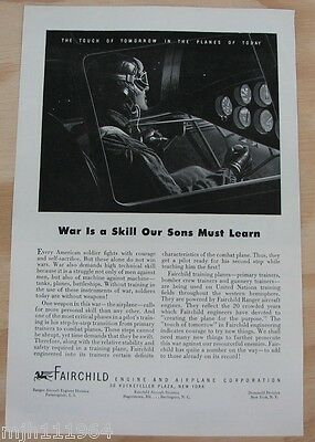 1940's Fairchild Engine and airplane Corp WWII advertisement